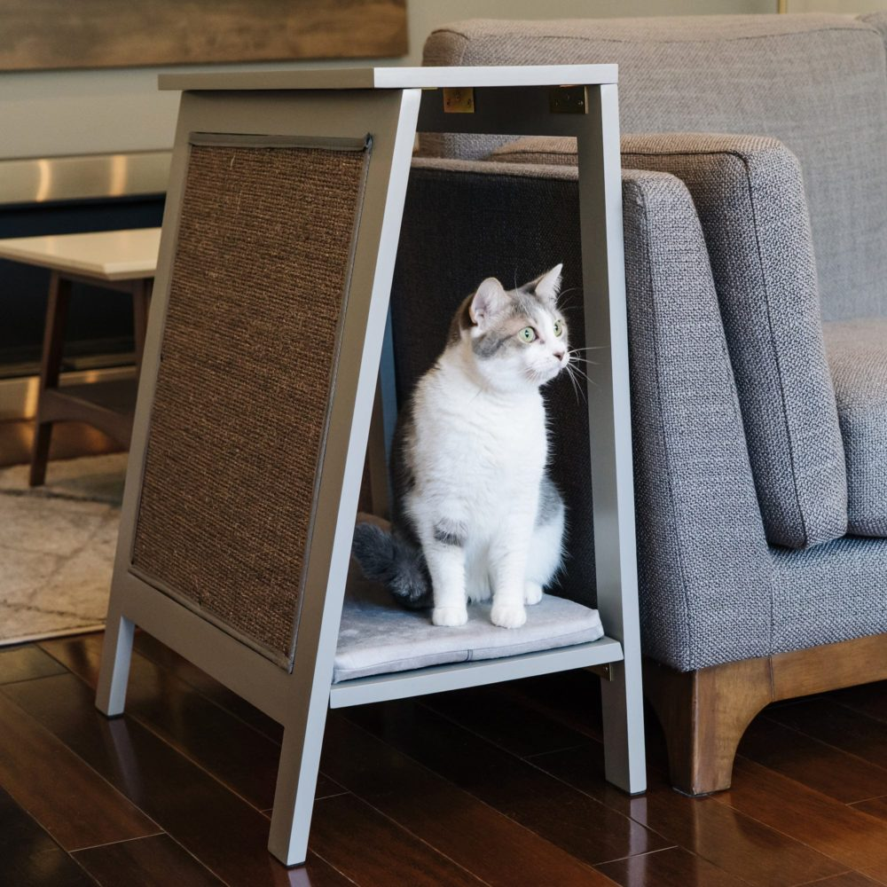 Modern A-Frame cat scratching bed in smoke