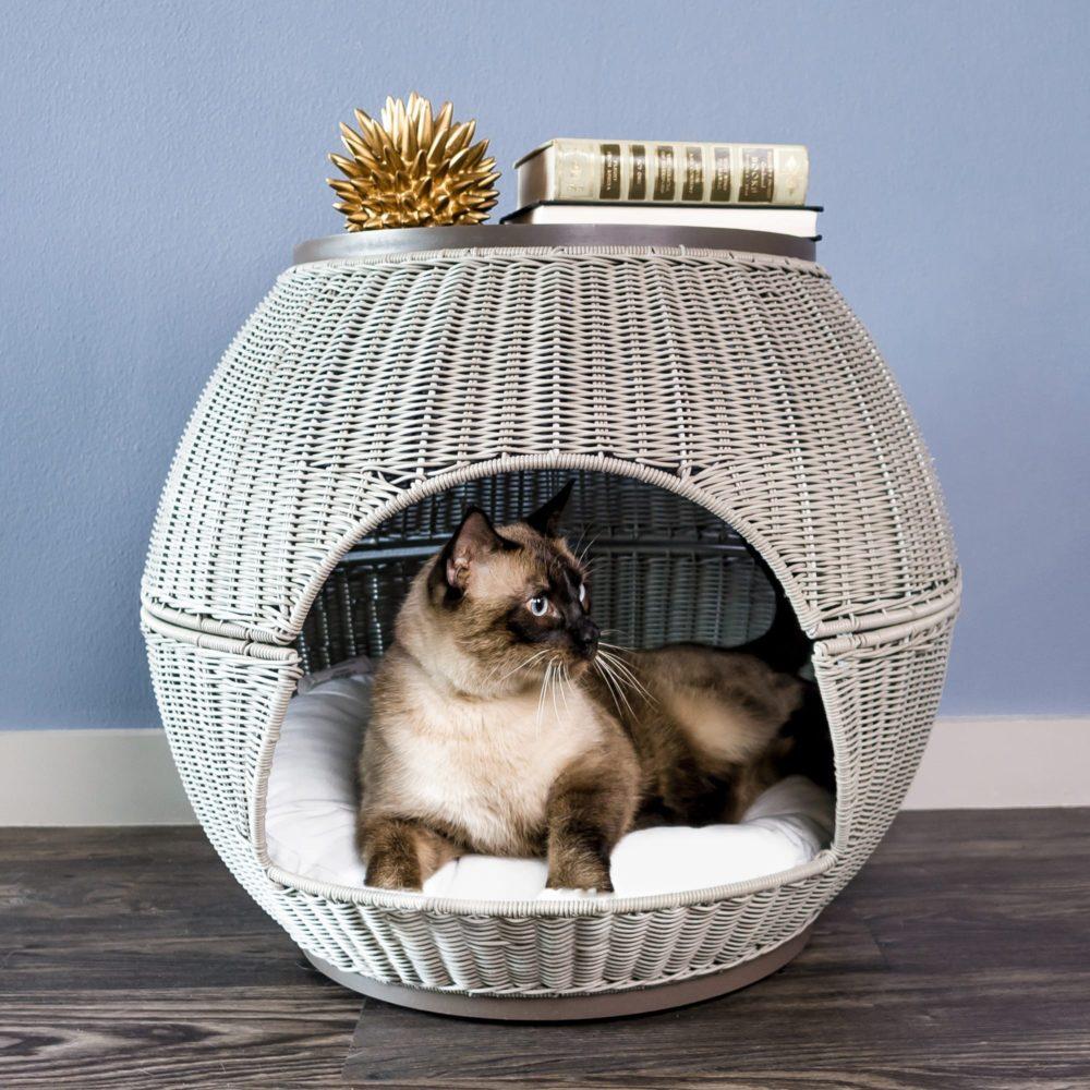 Kitty Ball Cat Bed Igloo Smoke