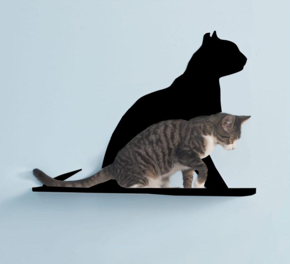 Cat Silhouette Cat Shelves Gaze Black