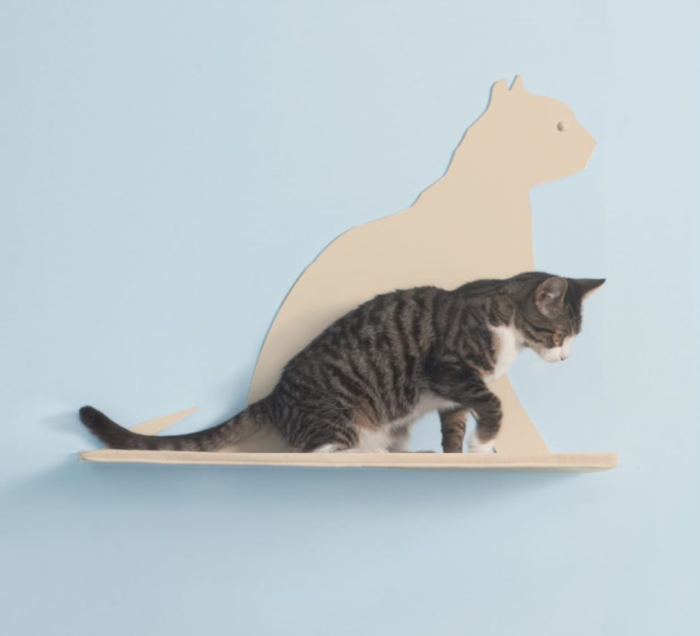 Cat Silhouette Cat Shelves Gaze Off-White
