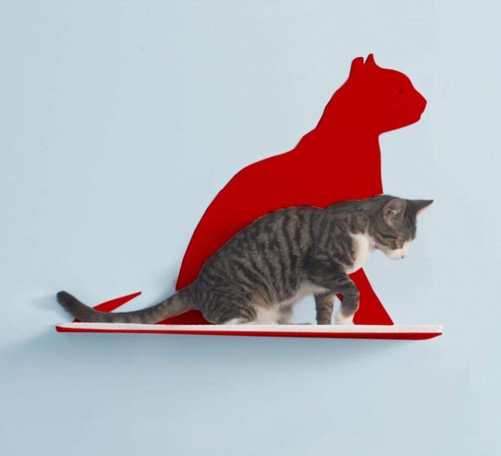 Cat Silhouette Cat Shelves Gaze Red