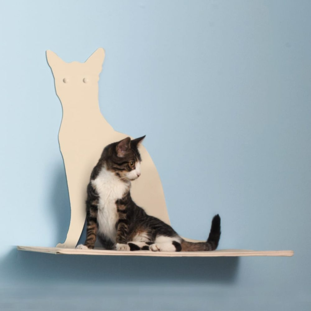 Cat Silhouette Cat Shelves Perch Off-White