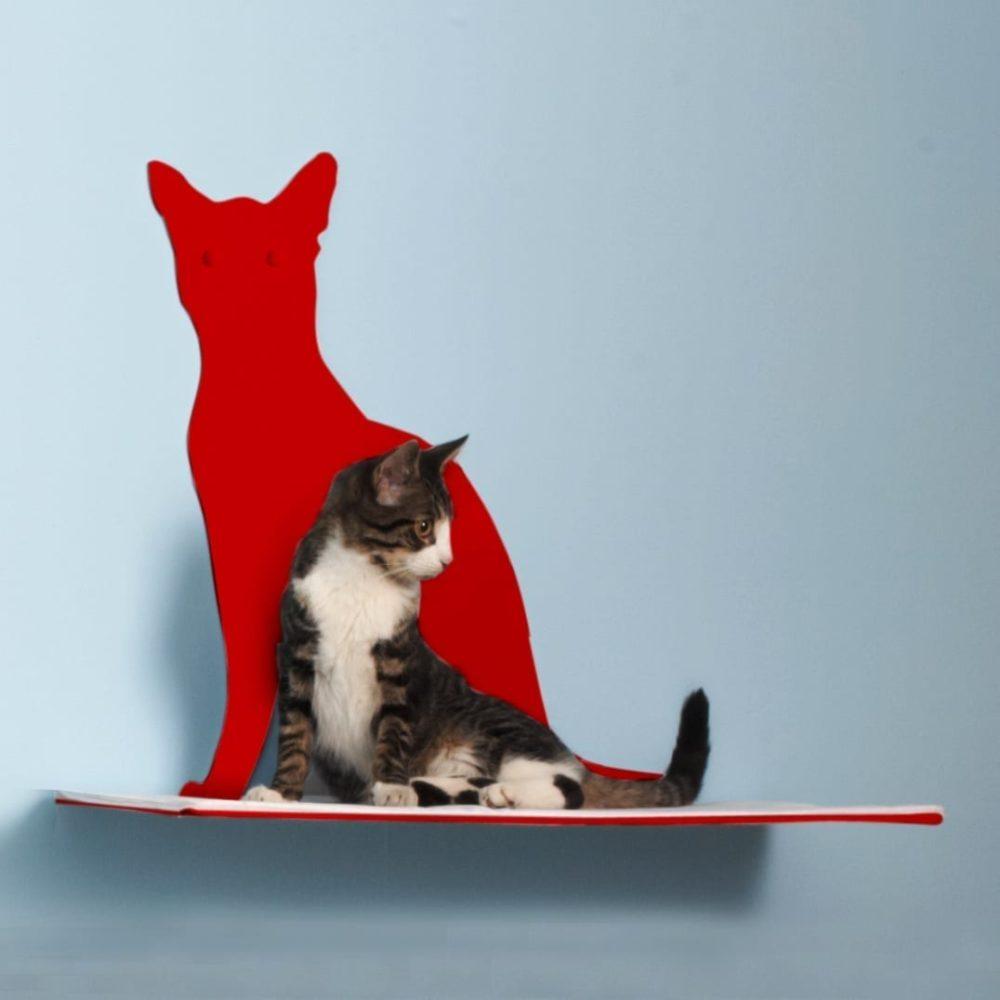 Cat Silhouette Cat Shelves Perch Red