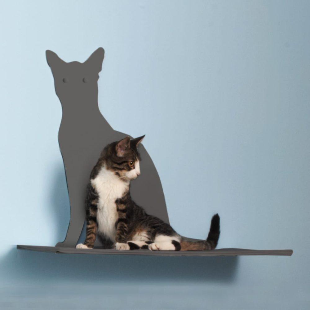 Cat Silhouette Cat Shelves Perch Titanium