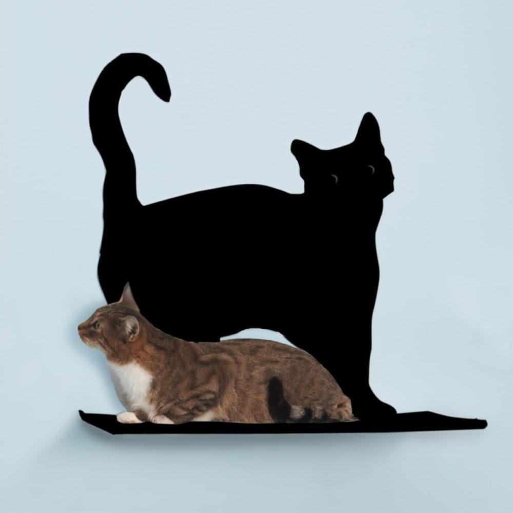 Cat Silhouette Cat Shelves Prance Black