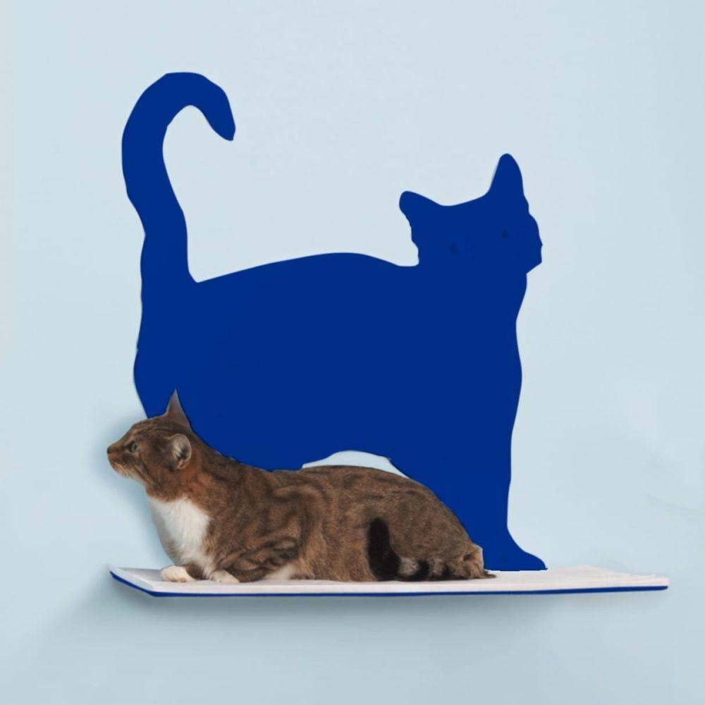 Cat Silhouette Cat Shelves Prance Blue