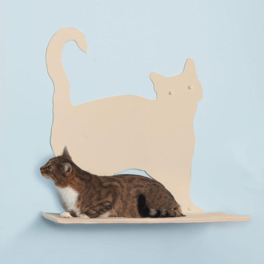 Cat Silhouette Cat Shelves Prance Off-White
