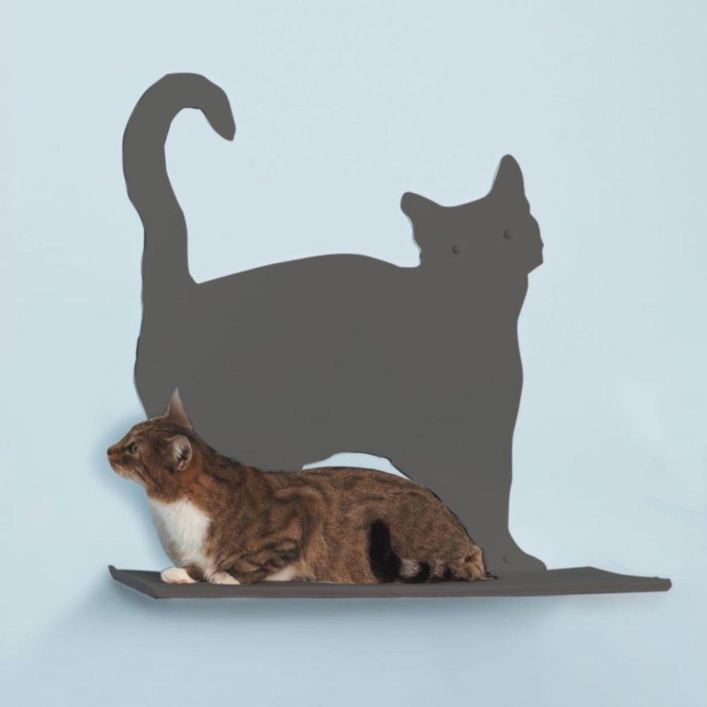 Cat Silhouette Cat Shelves Prance Titanium