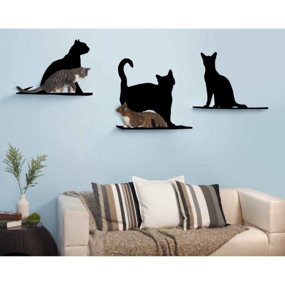 Cat Silhouette Cat Shelves Black