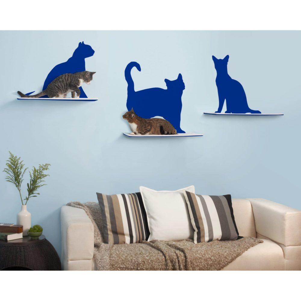 Cat Silhouette Cat Shelves Blue