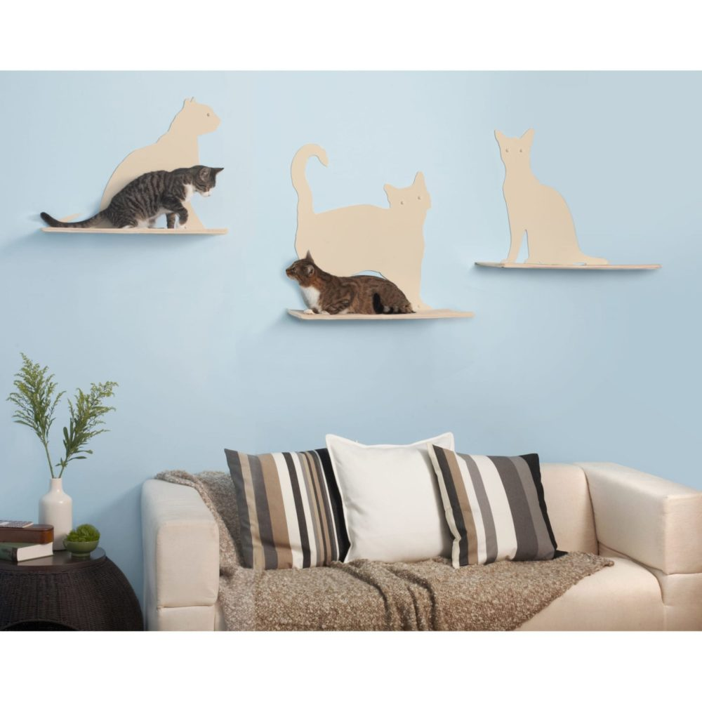 Cat Silhouette Cat Shelves Off-White