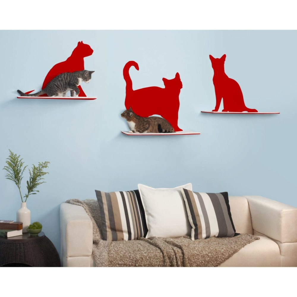 Cat Silhouette Cat Shelves Red