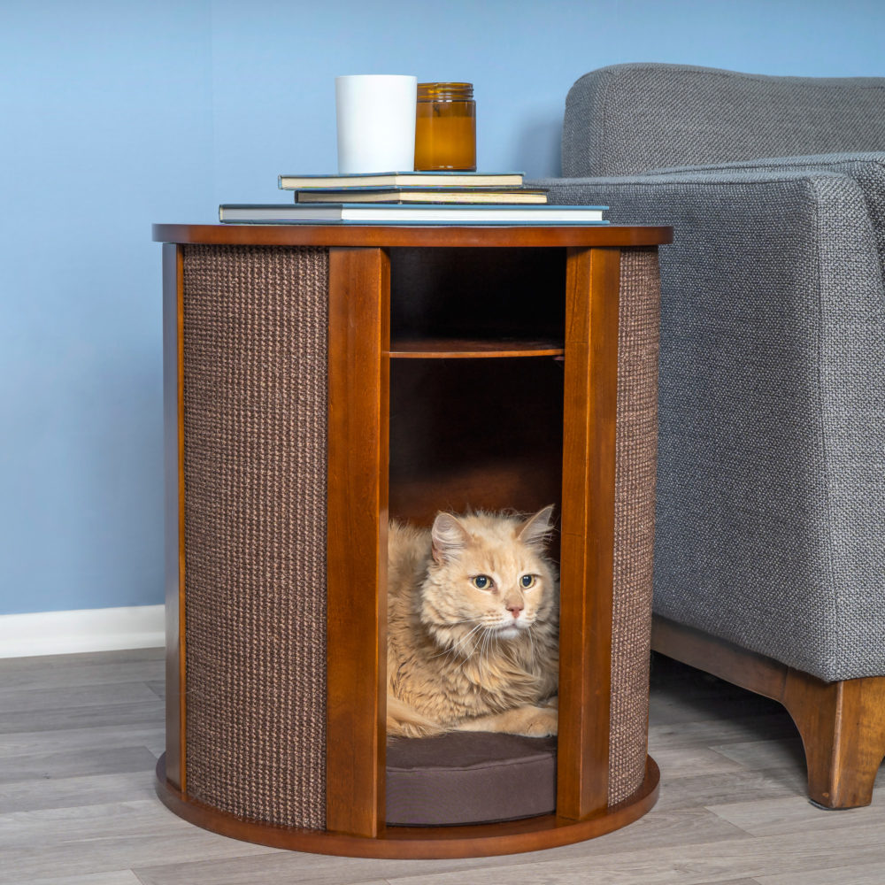Purrrrfect end table cat bed