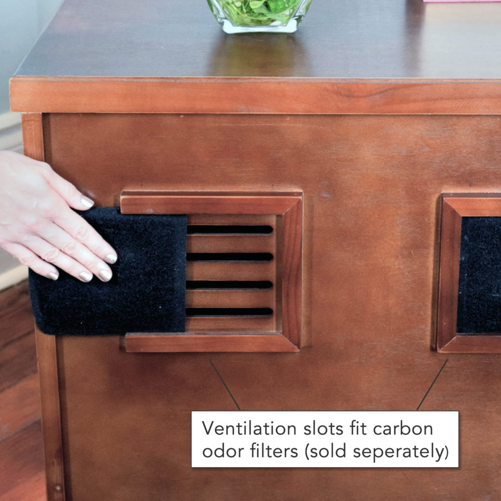 Rear slot can hold carbon odor filters