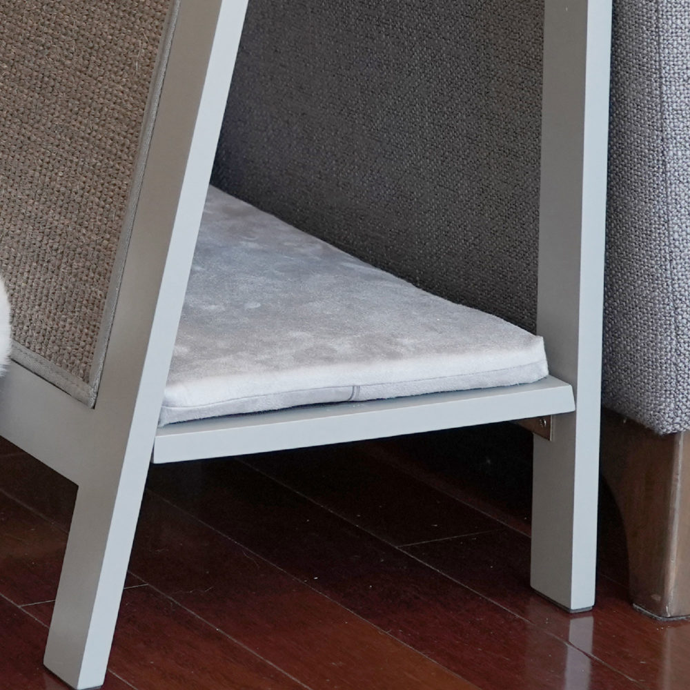 A Frame Cat Bed Grey Cushion